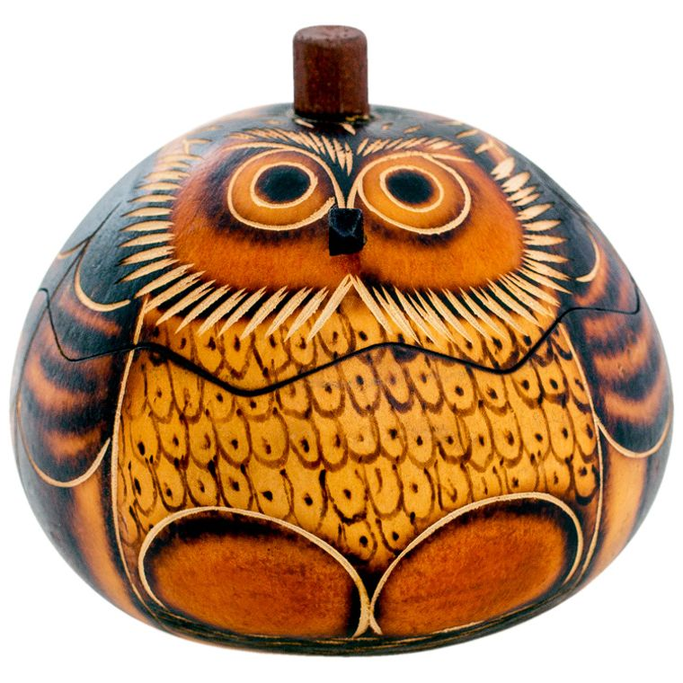Owl - Petite Carved Gourd Box