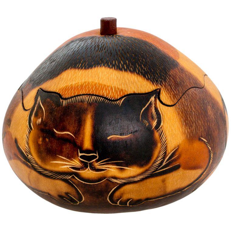 Cat - Petite Carved Gourd Box