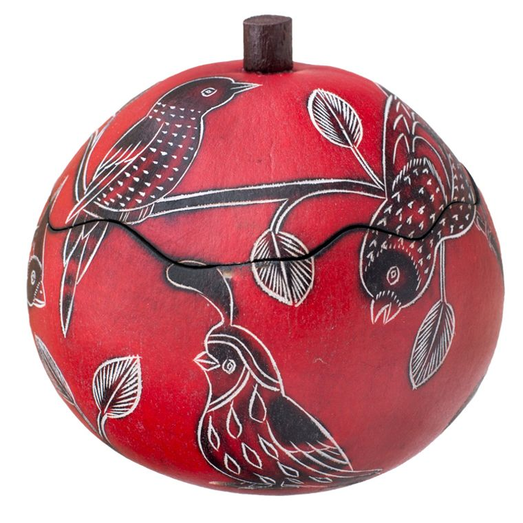 Birds of North America - Small Carved Gourd Box