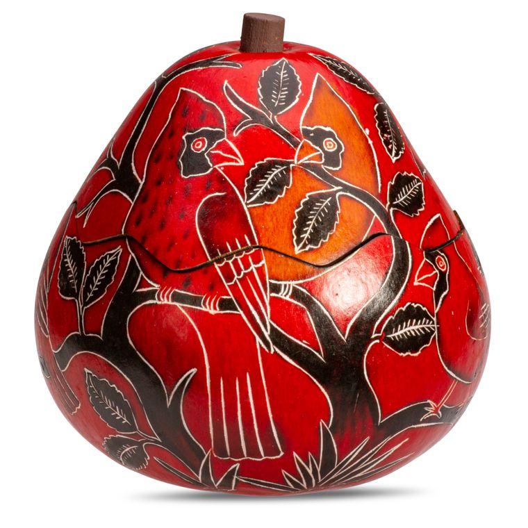 Cardinals on Branch - Medium Gourd Box - Assorted Designs