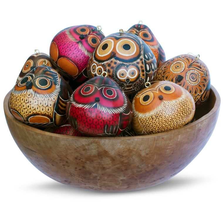 Owls Mix - Gourd Ornament (sold in 20s)
