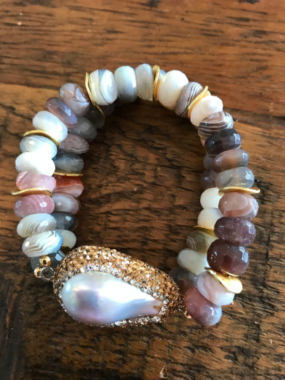 Botswana Agate Pearl Bracelet