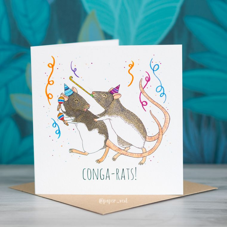 Rats Greeting Card - 'Conga-Rats!'