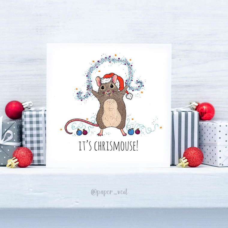 Mouse Christmas Card - 'It's Chrismouse!'