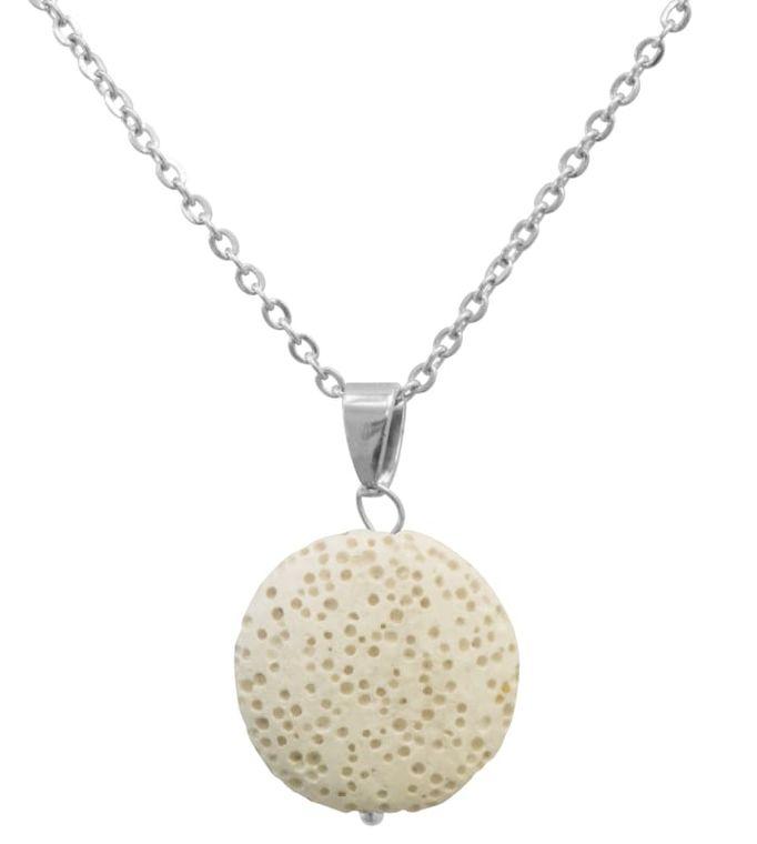 White Lava Stone Essential Oil Necklace