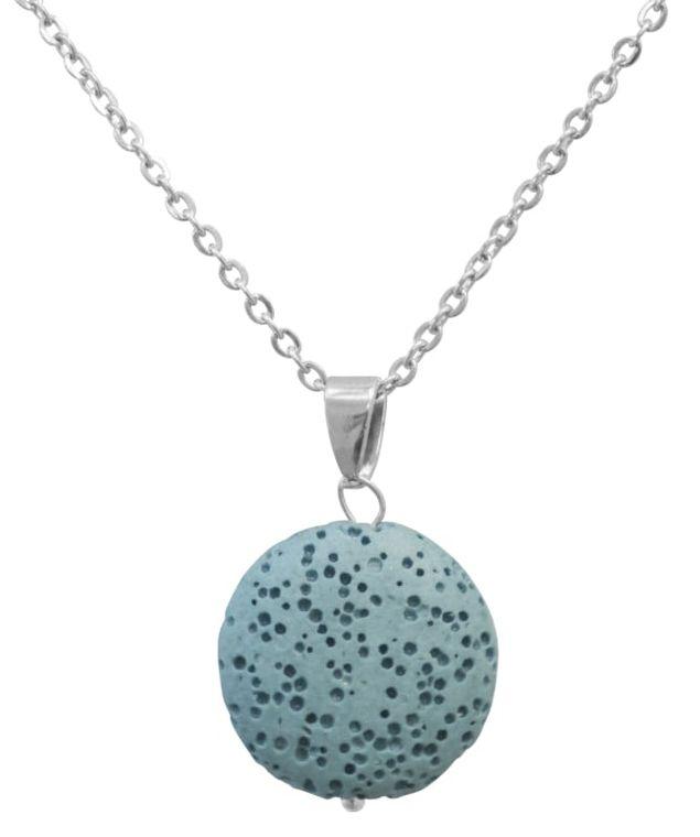 Light Blue Lava Stone Essential Oil Necklace