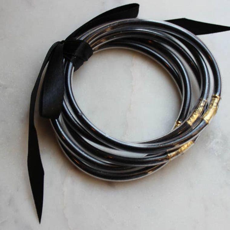Black Bangles - Set of 5 - Stackable Bracelets
