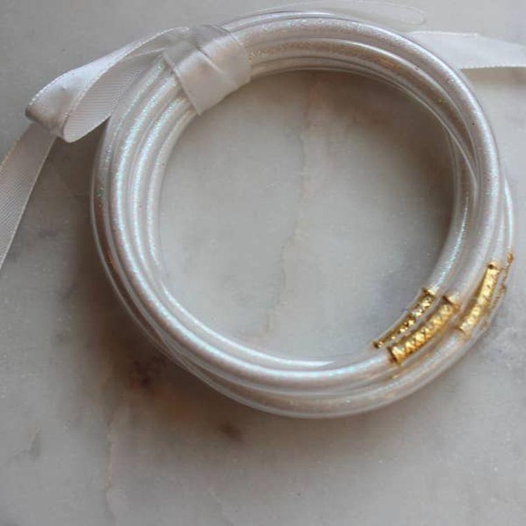 White bangles - set of 5 - Stackable Bracelets