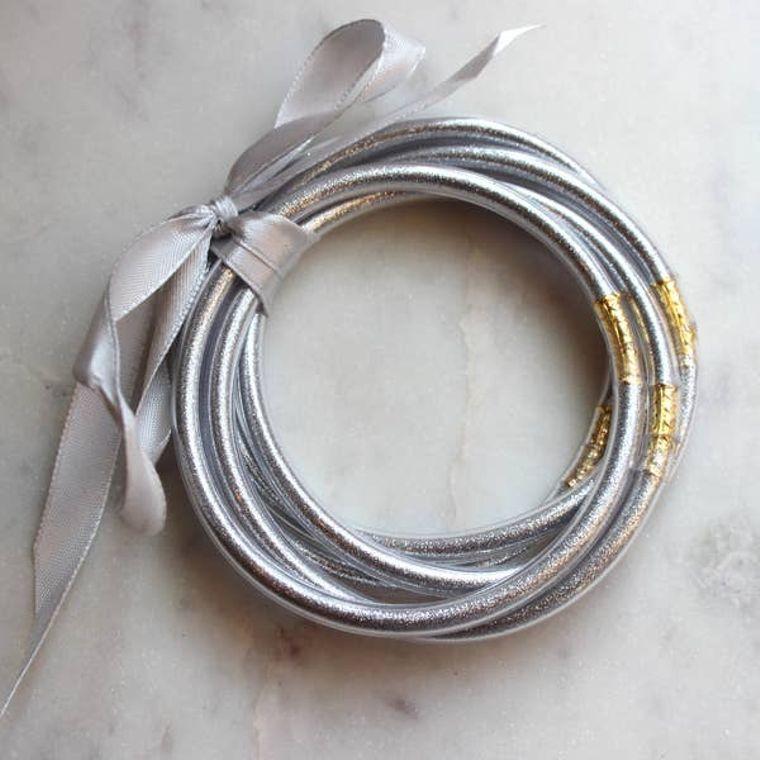 Silver Bangles - Set of 5 - Stackable Bracelets