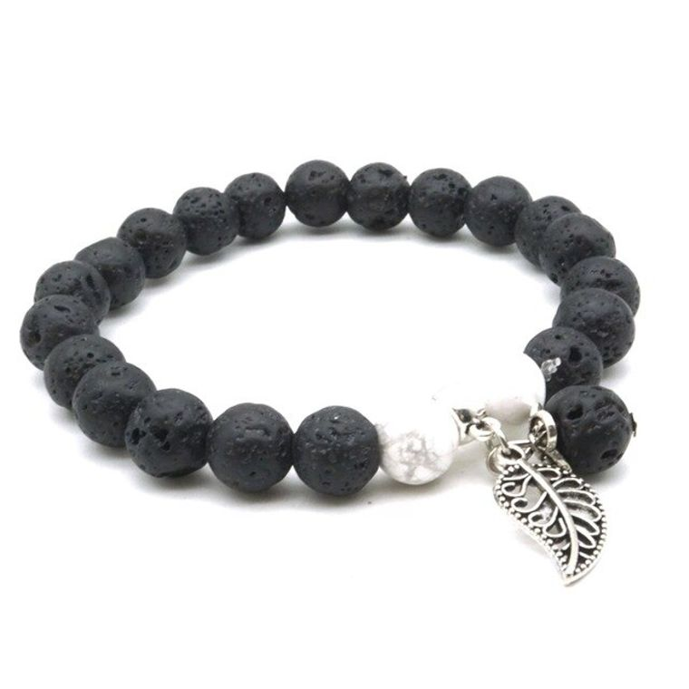 Black and White Feather Charm Essential Oil Bracelet