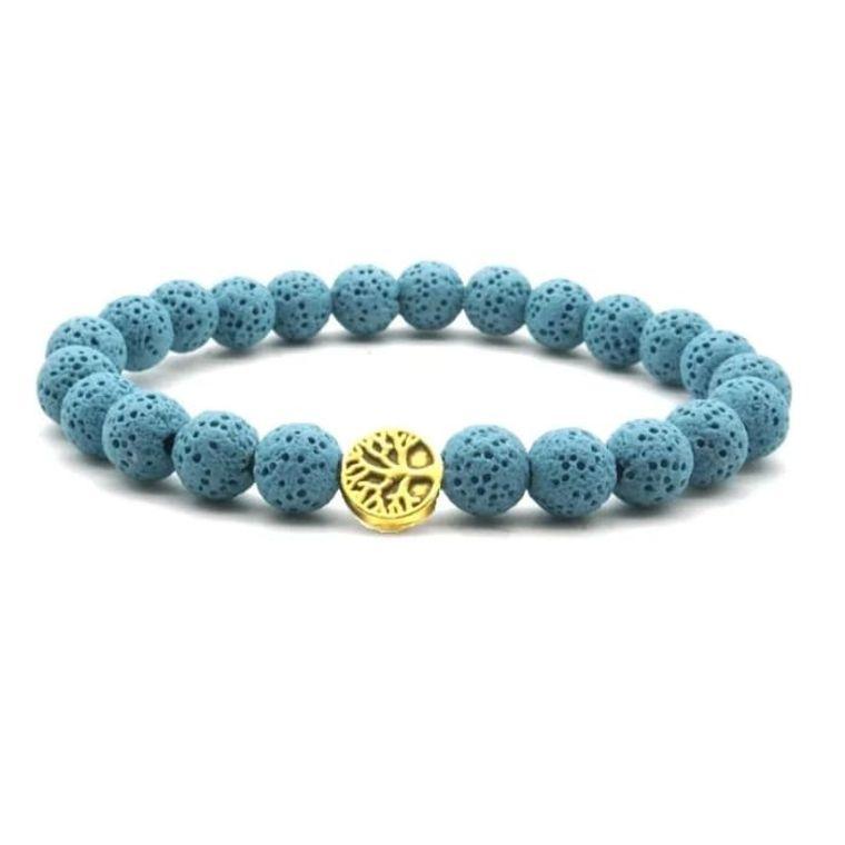 Blue Lava Stone Bracelet Gold Tree of Life