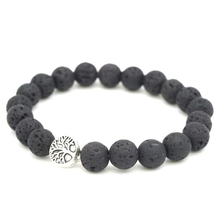 Classic Black Lava Stone Tree of Life Essential Oil Bracelet