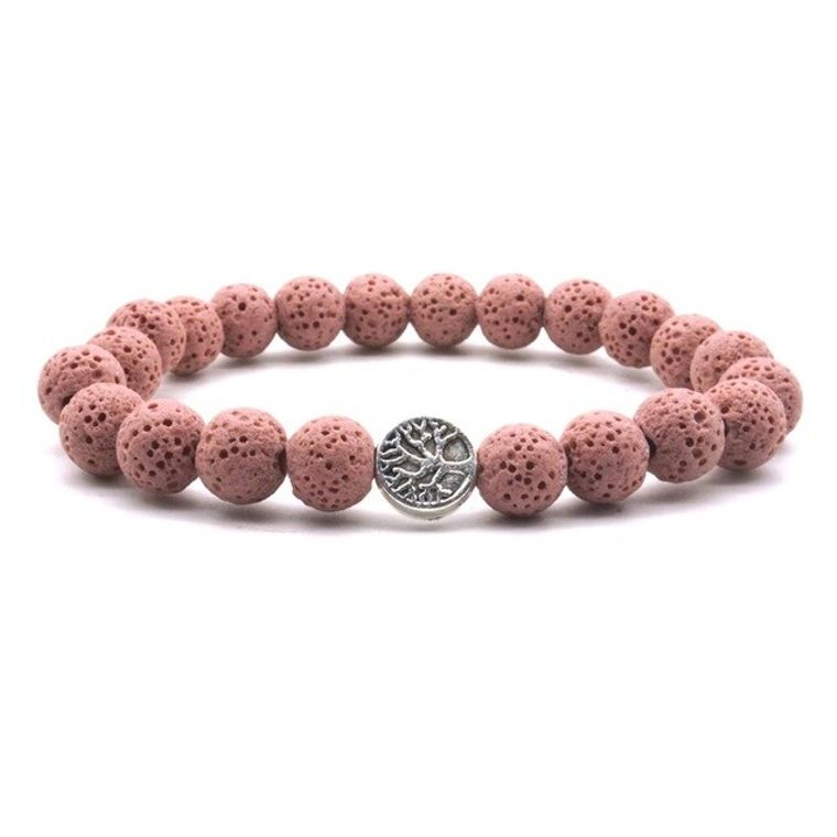 Red Lava Stone Tree of Life Essential Oil Bracelet