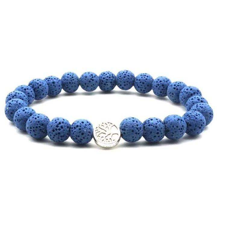 Dark Blue Lava Stone Tree of Life Essential Oil Bracelet