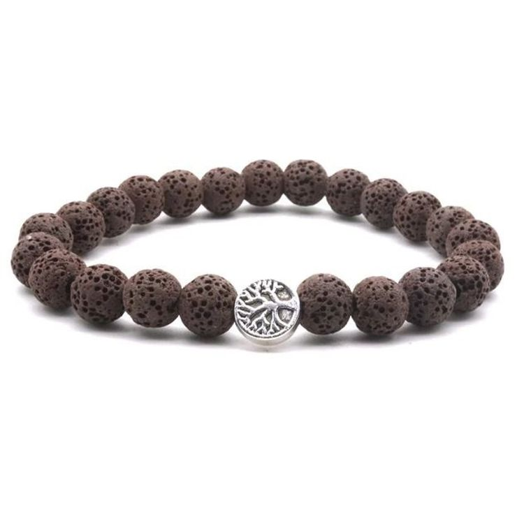 Brown Lava Stone Tree of Life Essential Oil Bracelet