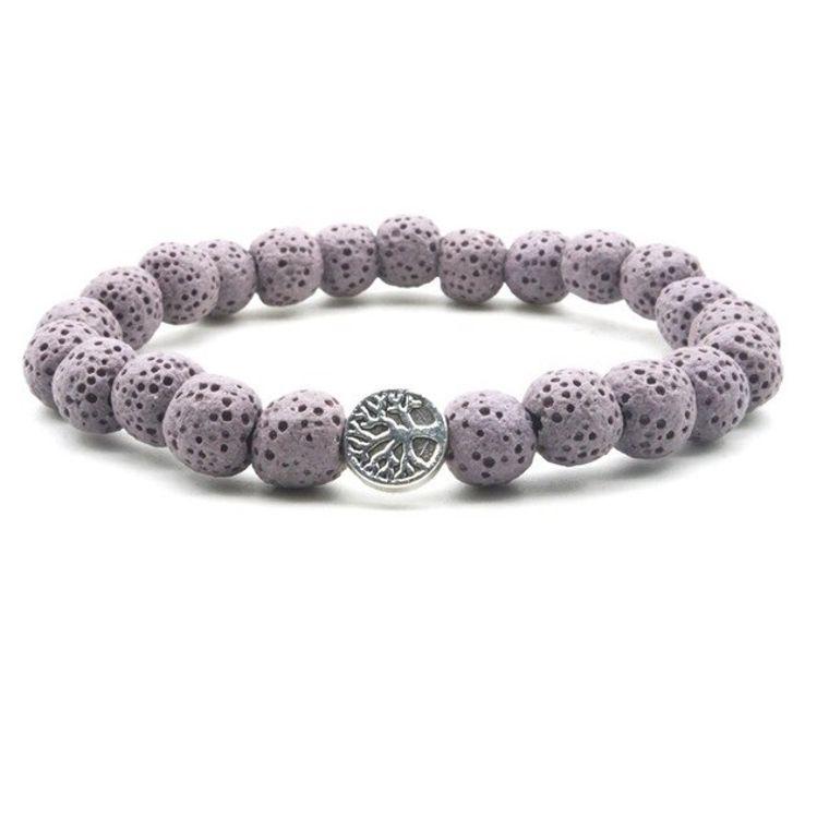 Pastel Purple Lava Stone Tree of Life Essential Oil Bracelet