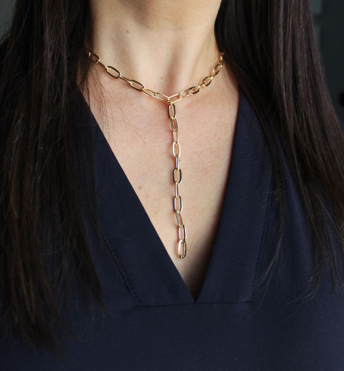 Gold Paperclip Lariat Necklace, Chain Link Choker, Paperclip Jewelry, Large Link Jewelry