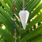 "Selenite Chakra Pendulum ~ ""Higher Consciousness, Spirit Guides, & Angels"""