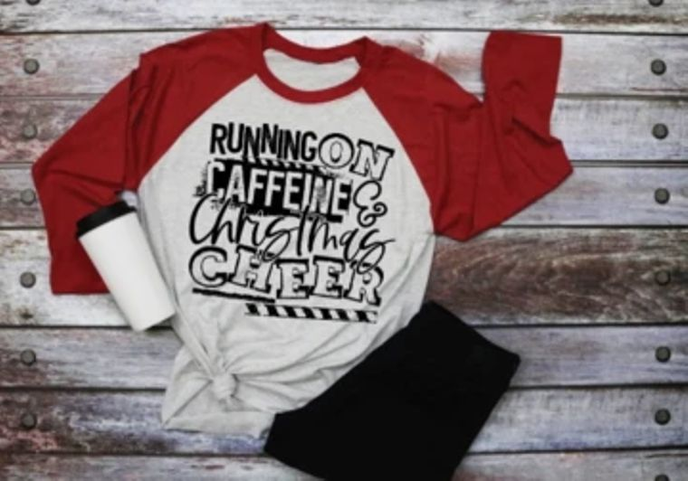 Running On Caffeine, Christmas and Cheer Adult Raglan