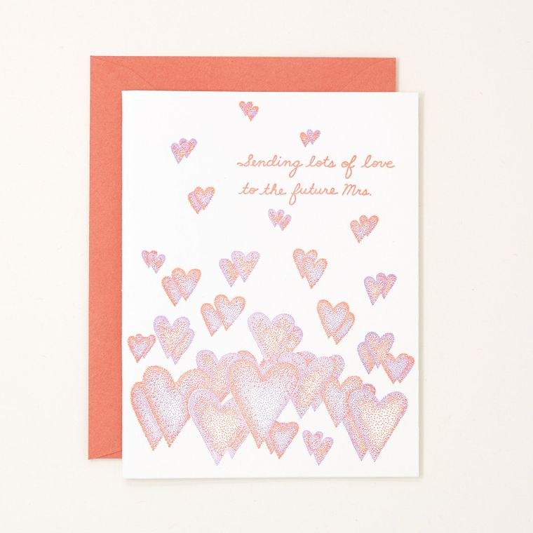 Sending Lots of Love to the Future Mrs. Letterpress Card