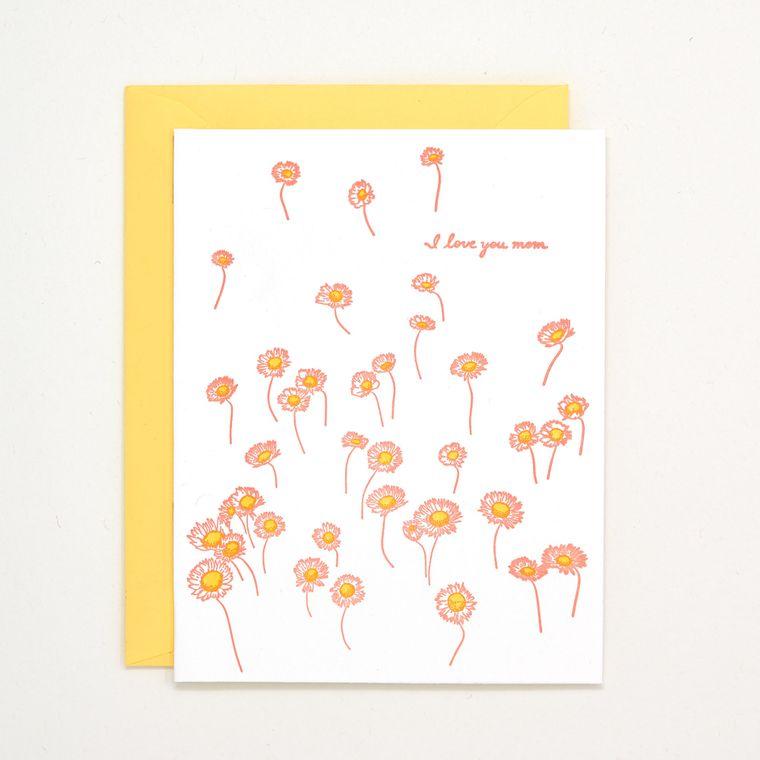 I Love You Mom Letterpress Card