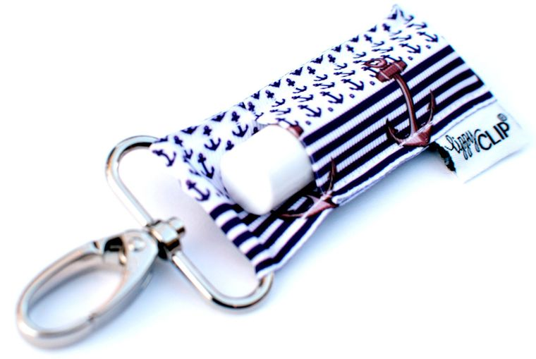Navy Stripe Anchors LippyClip Lip Balm Holder