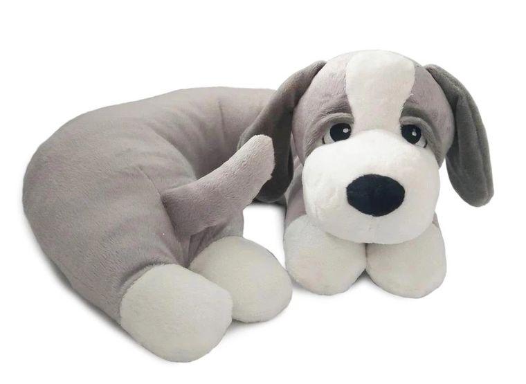 SNOOZY-Grey Dog Pillow w/White Paws