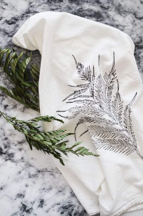 Natural Fern Tea Towel