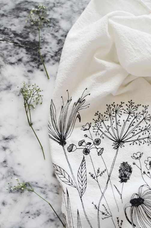 Natural Wildflower Tea Towel