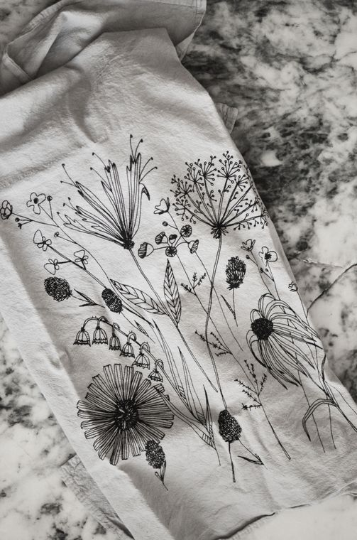 Gray Wildflower Tea Towel