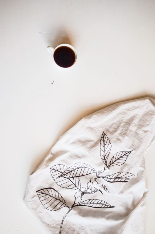 Natural Coffee Plant Tea Towel