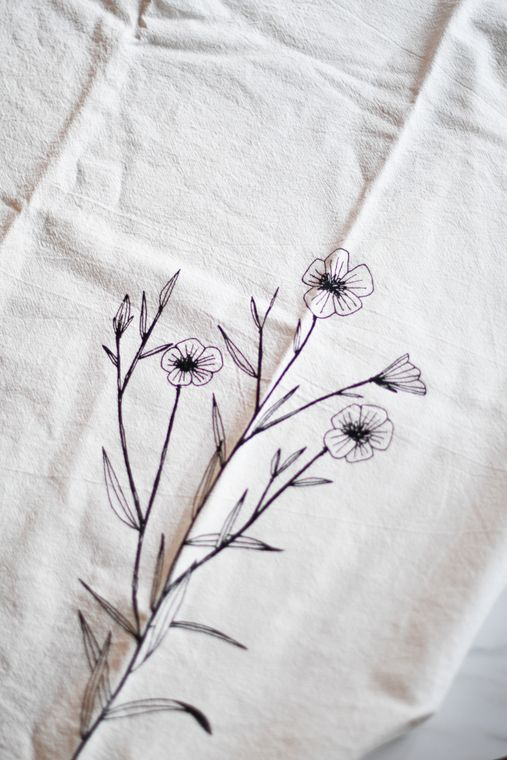 Natural Flax Flower Tea Towel