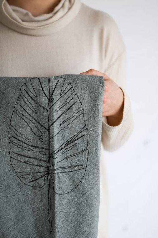 Gray Monstera Leaf Tea Towel