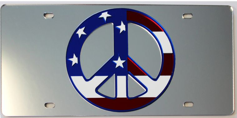 License Plate American Peace Sign Mirrored Acrylic Car Tag