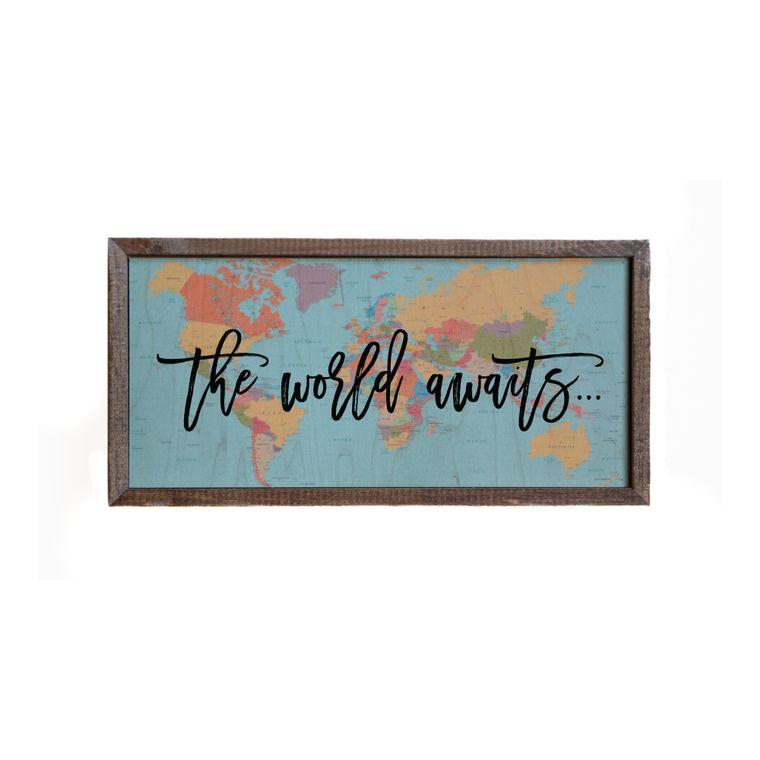 12x6 The World Awaits Wall Sign - DW014