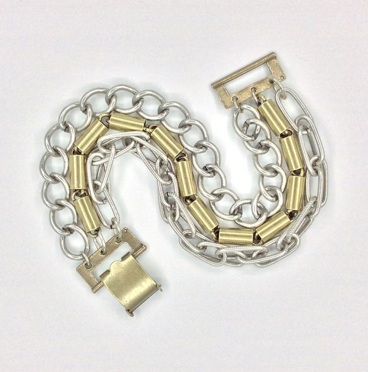 Mixed Metal 3-chain Bracelet - 1505