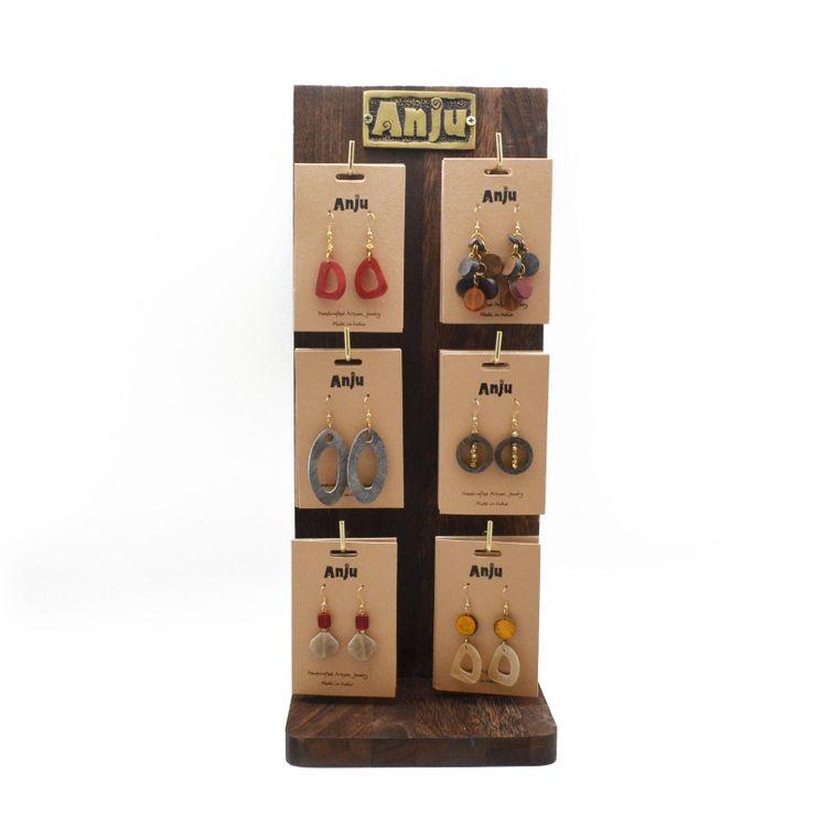 Omala Prepack: 24 Assorted Earrings and Wooden Display