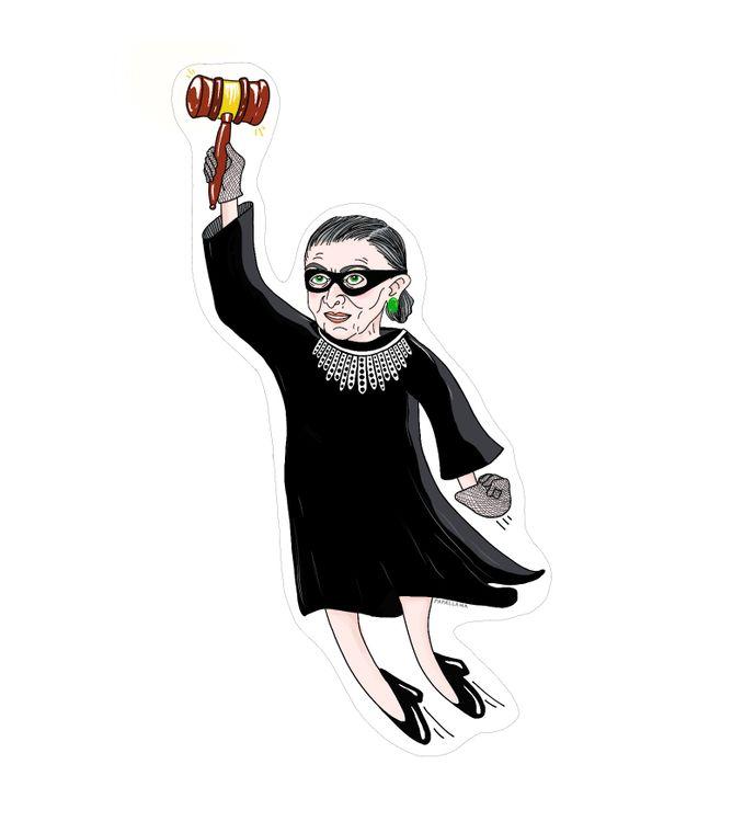 "Ruth Bader Ginsburg, Superhero 4""Sticker"