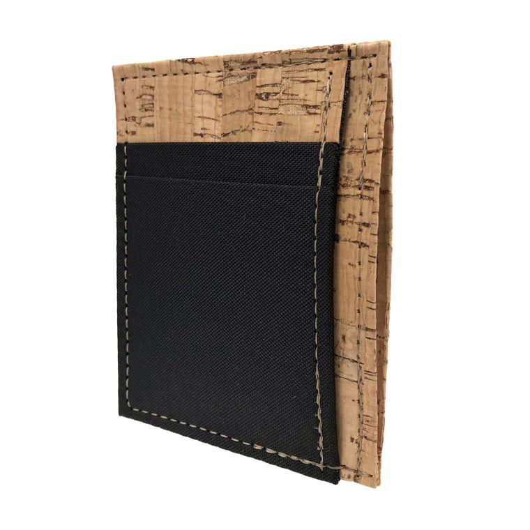 Handmade Vegan Men's Cork and Polyester Front Pocket Card and Cash Holder Wallet