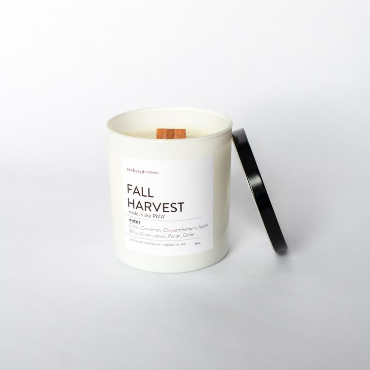 Fall Harvest - White Tumbler w/ lid