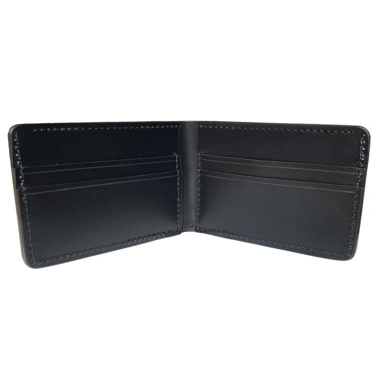 Men's / Women's Black Leather Bi-Fold / Billfold Wallet
