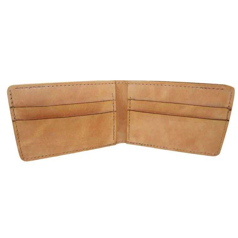 Men's Black Leather Bi-Fold / Billfold Wallet (Tan)