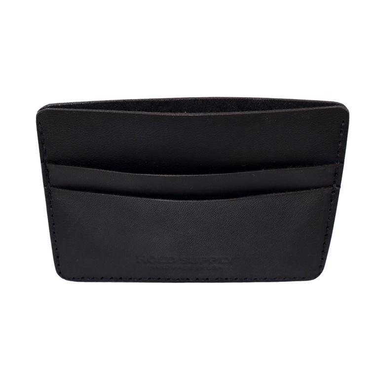 Men's / Women's Leather Card Holder Wallet, Genuine Vegetable Tanned Full Grain Leather (Black)