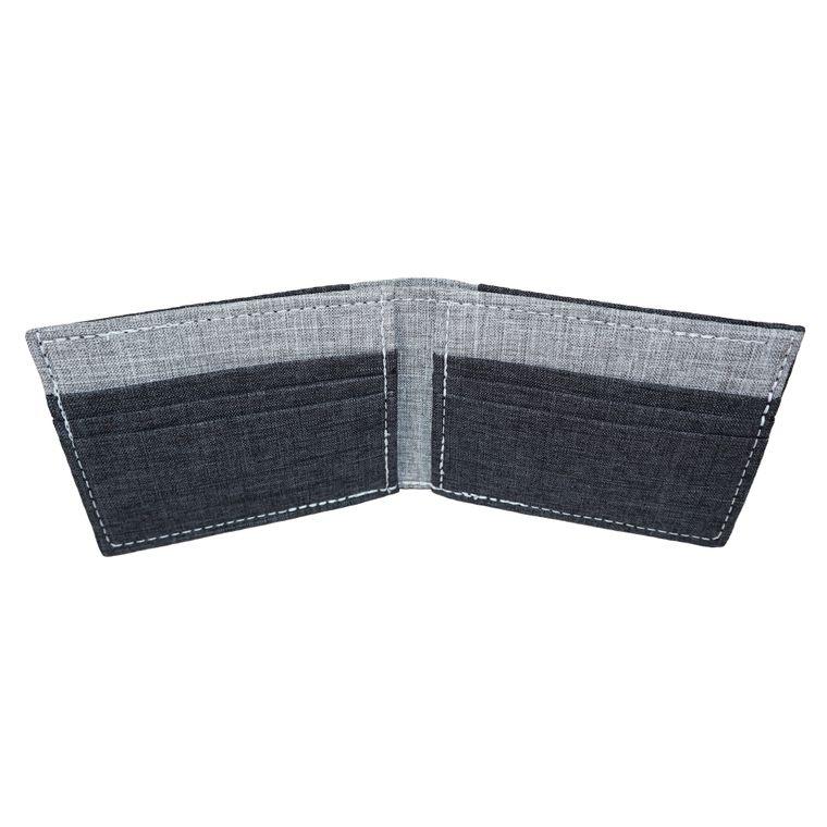 Men's Gray Polyester Bi fold Wallet Vegan Billfold Wallet Handmade in California