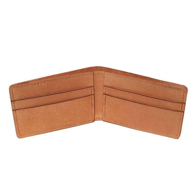 Men's / Women's Tan Natural Leather Bifold/  Billfold Wallet