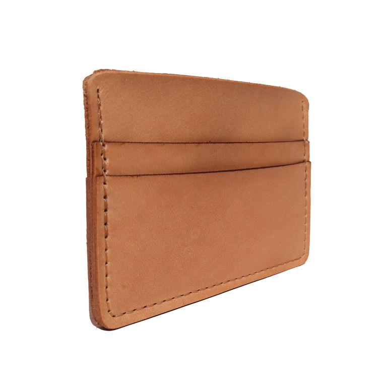 Men's / Women's Tan Natural Leather Card & Cash Holder Wallet