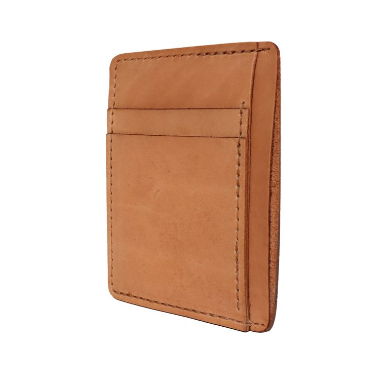 Men's / Women's Tan Natural Leather Front Pocket Card & Cash Wallet