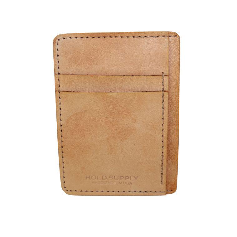 Men's / Women's Natural Leather Front Pocket Card & Cash Wallet (Tan)