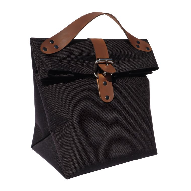 Fold Top Insulated Lunch Bag / Lunch Pail / Lunch Box with Leather Straps (Black)