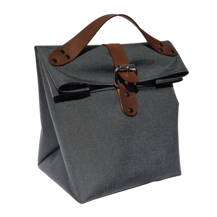 Fold Top Insulated Lunch Bag / Lunch Pail / Lunch Box with Leather Straps (Gray)